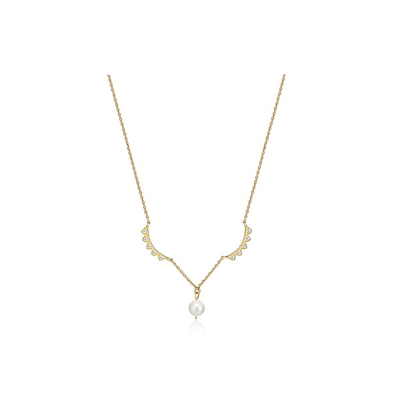 C&C 天使之翼典雅珍珠银项链